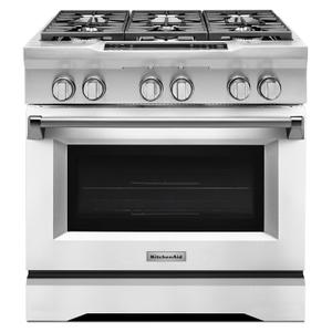 36'' 6-Burner Dual Fuel Freestanding Range, Commercial-Style Imperial White -