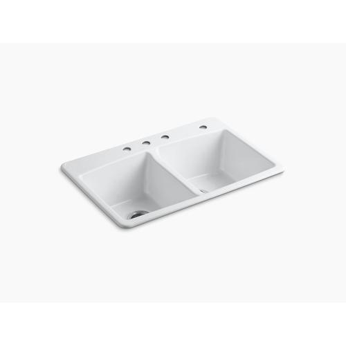 """Biscuit 33"""" X 22"""" X 9-5/8"""" Top-mount Double-equal Kitchen Sink"""