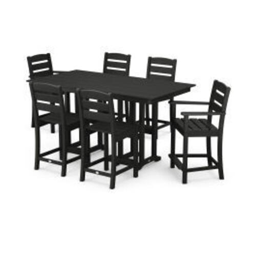 Polywood Furnishings - Lakeside 7-Piece Counter Set in Black