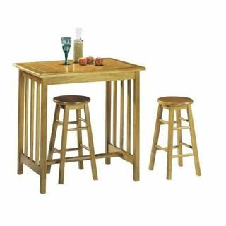 ACME Metro 3Pc Pack Breakfast Set - 02140OT - Oak & Terracotta Tile Top