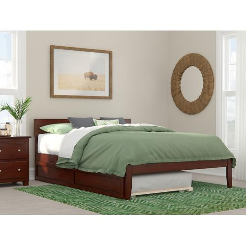 Atlantic Furniture - Boston Queen Bed with Twin Extra Long Trundle in Walnut