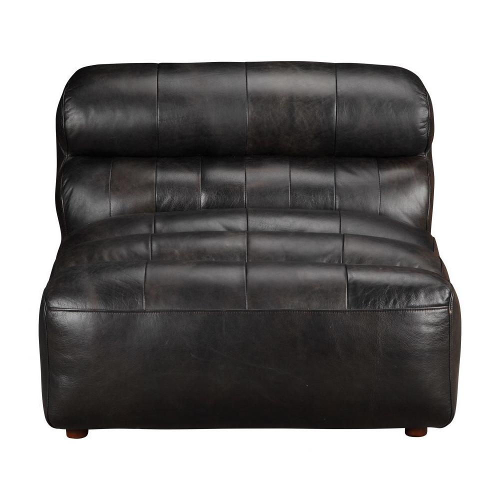 Ramsay Leather Armless Chair Antique Black