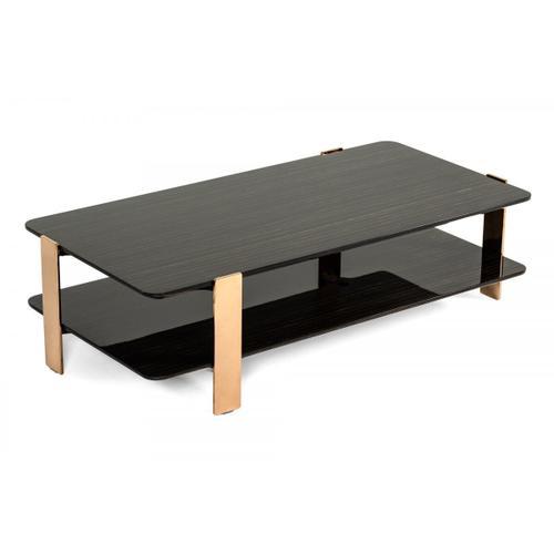 VIG Furniture - Modrest Leroy Modern Ebony & Rosegold Coffee Table