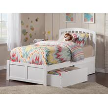 Richmond Twin Flat Panel Foot Board with 2 Urban Bed Drawers White