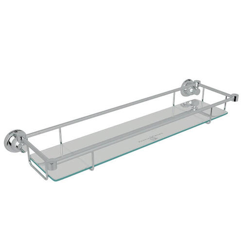 Holborn Wall Mount Glass Vanity Shelf - Polished Chrome
