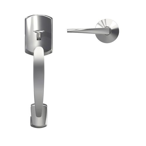 Custom Greenwich Front Entry Handle and Eller Lever with Kinsler Trim - Bright Chrome