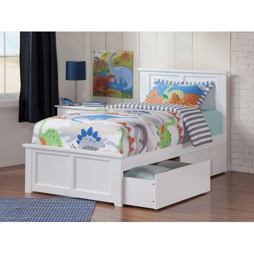 Madison Twin Bed with Matching Foot Board with 2 Urban Bed Drawers in White