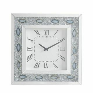 ACME Sonia Wall Clock - 97047 - Mirrored & Faux Agate