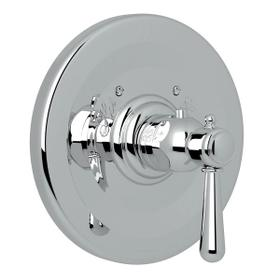 Verona Thermostatic Trim Plate without Volume Control - Polished Chrome with Metal Lever Handle