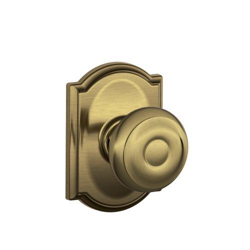 Georgian Knob with Camelot trim Hall & Closet Lock - Antique Brass