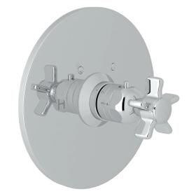 San Giovanni Thermostatic Trim Plate without Volume Control - Polished Chrome with Five Spoke Cross Handle