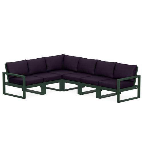 Polywood Furnishings - EDGE 6-Piece Modular Deep Seating Set in Green / Navy Linen