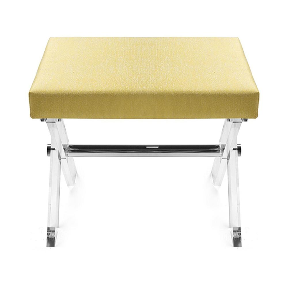 The Style Spotters Have Spoken! the Dixon Stool, With Its X Frame In Crystal Clear Acrylic, Is A Perennial Favorite. Upholstered Cushion In Cheerful Citron Fabric With A Polished Nickel Stretcher.