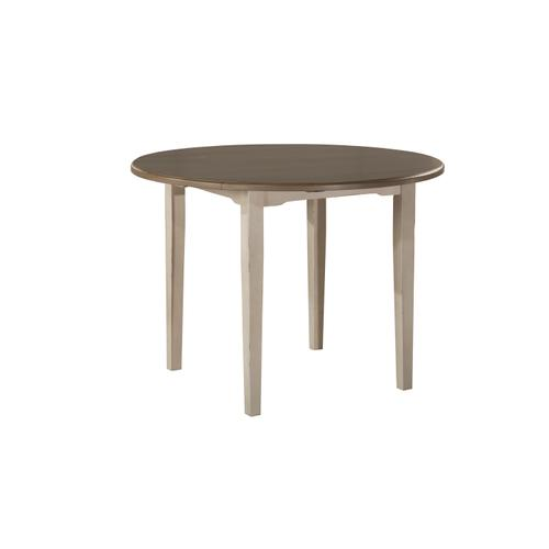 Clarion Round Drop Leaf Dining Table With Straight Legs - Distressed Gray Top With Sea White Base