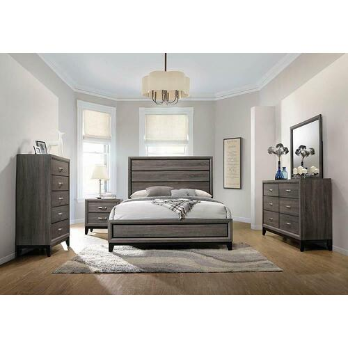 Rustic Grey Oak Eastern King Bed