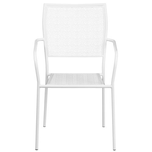White Indoor-Outdoor Steel Patio Arm Chair with Square Back