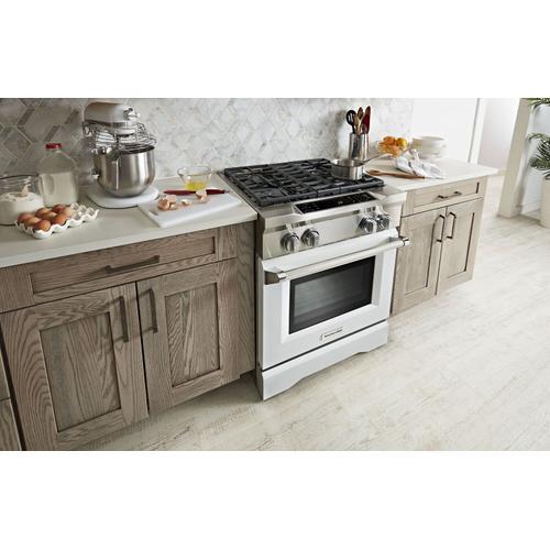 KitchenAid - 30'' 4-Burner Dual Fuel Freestanding Range, Commercial-Style Imperial White