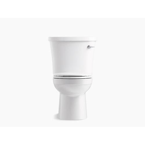 White Two-piece Round-front 1.28 Gpf Toilet With Class Five Flushing Technology, Right-hand Trip Lever and Antimicrobial Finish, Seat Not Included