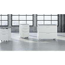 View Product - Centro 6416 Lateral File Cabinet in Satin White Painted Oak Grey Glass