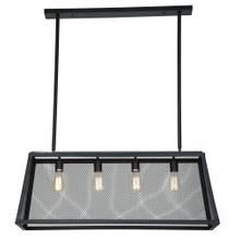 Luminaire Matte Black 4-Light Wire Mesh Chandelier