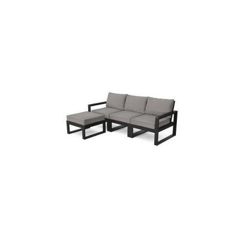 Polywood Furnishings - EDGE 4-Piece Modular Deep Seating Set with Ottoman in Black / Grey Mist