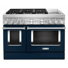 See Details - KitchenAid® 48'' Smart Commercial-Style Dual Fuel Range with Griddle - Ink Blue