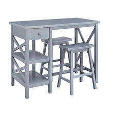 See Details - Counter Table w/ 2 Stools- 3/CTN - Gray Finish