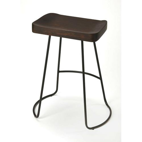 Butler Specialty Company - The intriguing lines of the black wrought-iron base provide the perfect complement to the distressed dark brown finish on the sculpted solid mango wood seat, ensuring this Bar Stool is as stylish as it is practical.