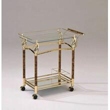 ACME Helmut Serving Cart - 98002 - Gold Plated & Clear Glass