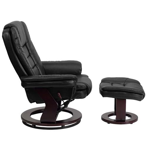 Alamont Furniture - Contemporary Black Leather Recliner and Ottoman with Swiveling Mahogany Wood Base