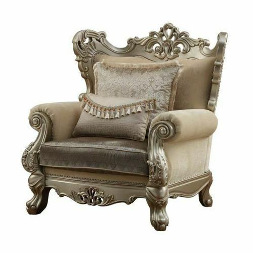 ACME Ranita Chair w/2 Pillows - 51042 - Fabric & Champagne