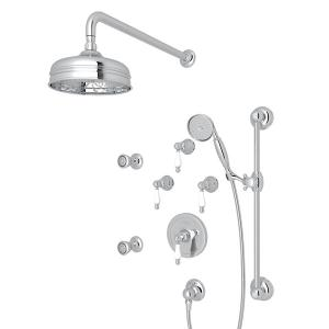Polished Chrome ARCANA THERMOSTATIC SHOWER PACKAGE with Ornate White Porcelain Lever Product Image