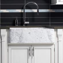 """See Details - Polished & Honed Front Farmhouse Sinks 33"""" Width / Carrara Marble"""
