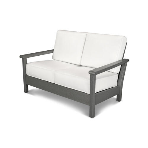 White & Marine Indigo Harbour Deep Seating Settee