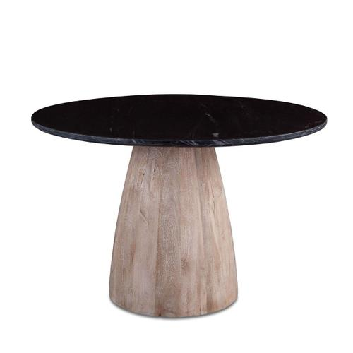 "Palm Springs 48"" Round Dining Table Black Marble, Mango Wood Base"