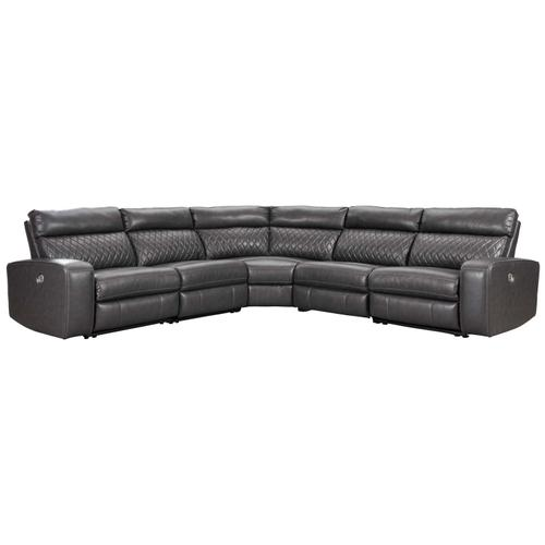 - Samperstone - Gray 5 Piece Sectional