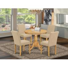 "5Pc Round 36"" Table And 4 Parson Chair With Oak Leg And Linen Fabric Light Fawn"