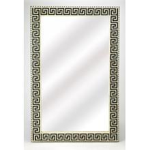 This magnificent wall mirror features a sophisticated artistry and consummate craftsmanship. The Greek key pattern covering the frame is created from bone inlay cut and individually applied by the hands of a skillful artisan. No two mirrors are alike, ensuring this piece will hand as a bonafide orginal.