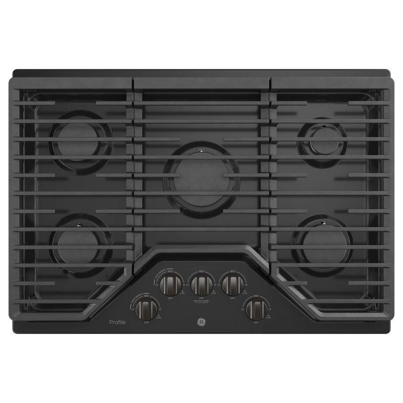 """GE Profile™ 30"""" Built-In Gas Cooktop with 5 Burners and Optional Extra-Large Cast Iron Griddle"""