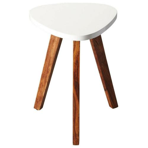 Butler Specialty Company - This contemporary Bunching Table will add modern style to your home. The three angled acacia wood legs support a geometric white table top. Placed next to a couch or chair you can display more modern decor or just set down your drink with style.