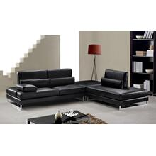 See Details - Divani Casa Tango - Modern Black Leather Sectional Sofa