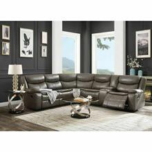 ACME Tavin Sectional Sofa (Motion) - 52540 - Contemporary - Leather-Aire Match, Frame: Wood (Hardwood+Ply), Foam (D); Metal Reclining Mechanism - Taupe Leather-Aire Match