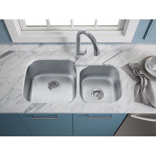 "35-1/8"" X 20-1/8"" X 9-3/4"" Undermount Extra Large/medium Double-bowl Kitchen Sink"