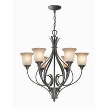 See Details - 6 Lites Chandelier - Dark Bronze/glass Shade, Type A 60wx6