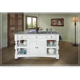 See Details - Kitchen Island w/3 Drawer, 2 doors, 4 Shelves & casters