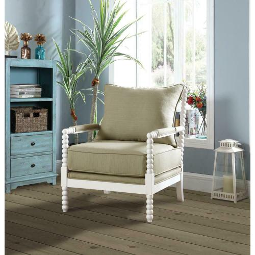 Traditional Beige and White Accent Chair