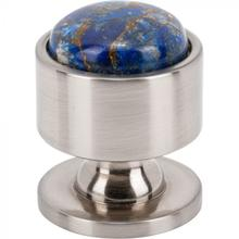 View Product - Firesky Mohave Lapis Knob 1 1/8 Inch Brushed Satin Nickel