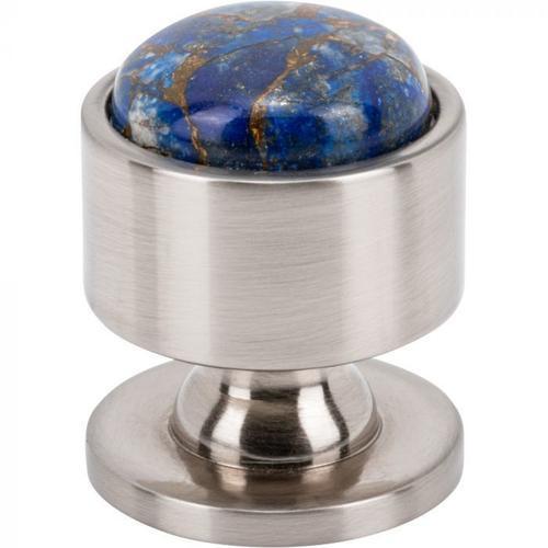 Vesta Fine Hardware - Firesky Mohave Lapis Knob 1 1/8 Inch Brushed Satin Nickel
