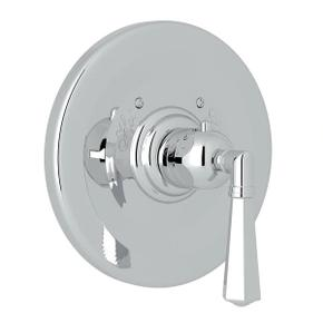 Palladian Thermostatic Trim Plate without Volume Control - Polished Chrome with Metal Lever Handle