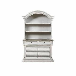 ACME York Shire Hutch & Buffet - 62277 - Country-Cottage, Provincial - Wood (Solid Poplar), Wood Veneer (Hickory), MDF, Ply - Dark Charcoal and Antique White